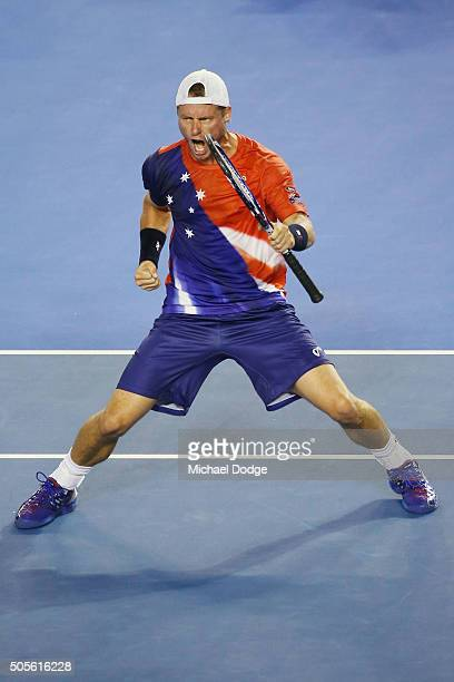 Lleyton Hewitt of Australia celebrates winning the second set in his first round match against James Duckworth during day two of the 2016 Australian...