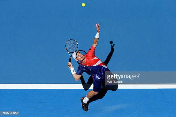 Lleyton Hewitt of Australia Gold serves in the men's single match against Alexandr Dolgopolov of the Ukraine during day five of the 2016 Hopman Cup...