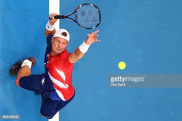 Lleyton Hewitt of Australia Gold serves to Jiri Vesely of the Czech Republic during day one of the 2016 Hopman Cup at Perth Arena on January 3 2016...
