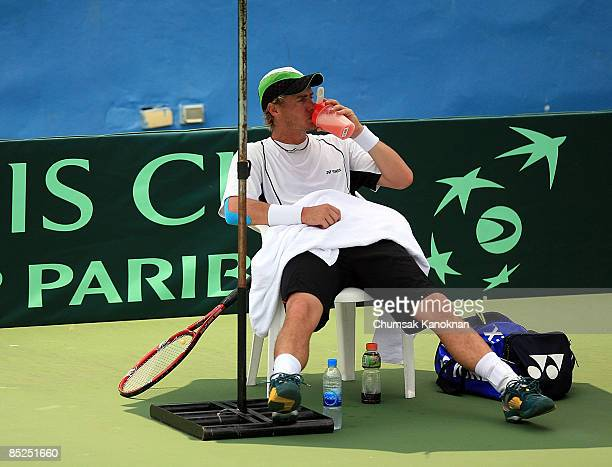 Lleyton Hewitt of Australia has a break during a team practice session ahead of the Davis Cup Asia/Oceania Group I second round tie between Thailand...