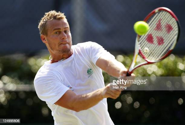 Lleyton Hewitt of Australia hits a backhand during a practice session ahead of the Davis Cup World Group Playoff Tie between Australia and...