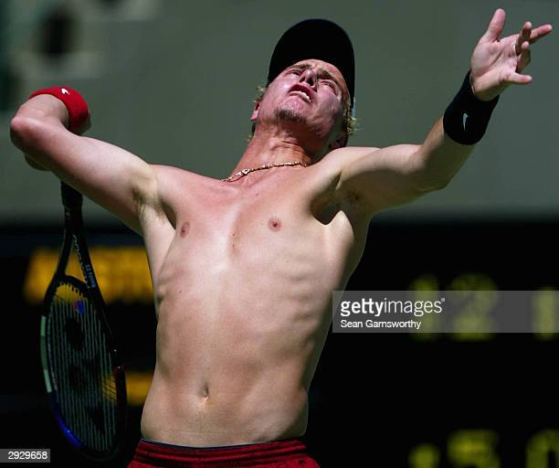 Lleyton Hewitt of Australia in action during a Davis Cup training session at at Memorial Drive February 5 2004 in Adelaide Australia