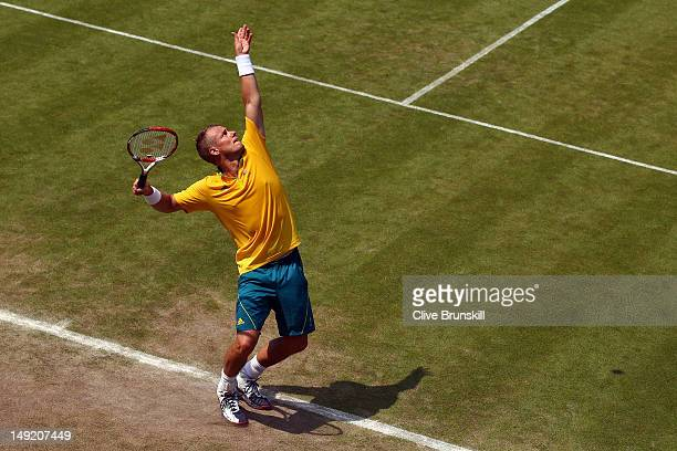 Lleyton Hewitt of Australia in action during a practice session ahead of the 2012 London Olympic Games at the All England Lawn Tennis and Croquet...