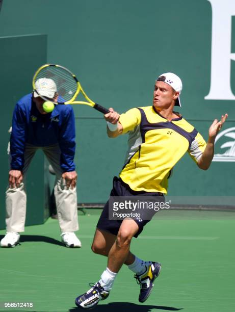 Lleyton Hewitt of Australia in action during the Pacific Life Open at the Indian Wells Tennis Garden in Indian Wells, California on March 13, 2006.