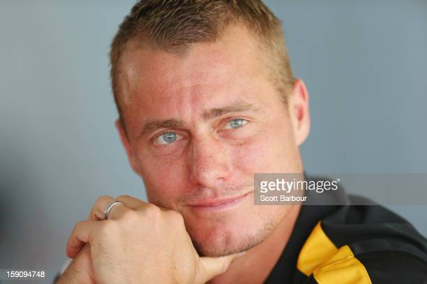 Lleyton Hewitt of Australia looks on during the AAMI Classic press conference at Kooyong on January 8, 2013 in Melbourne, Australia.