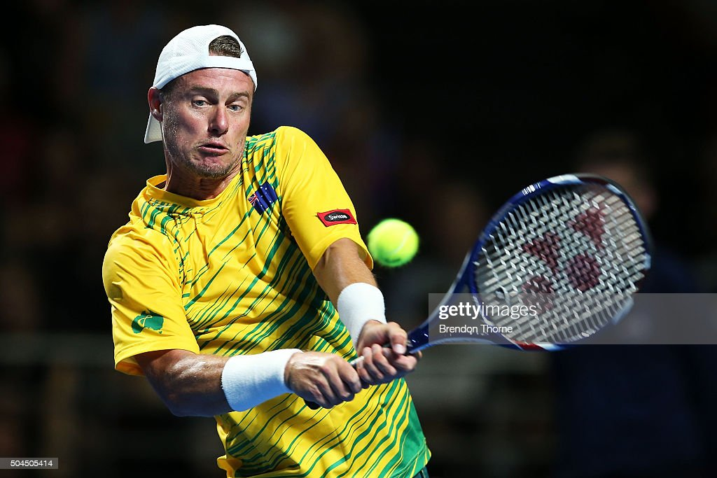 Lleyton Hewitt of Australia plays a backhand during the FAST4 Tennis exhibition match between Rafael Nadal and Lleyton Hewitt at Allphones Arena on January 11, 2016 in Sydney, Australia.