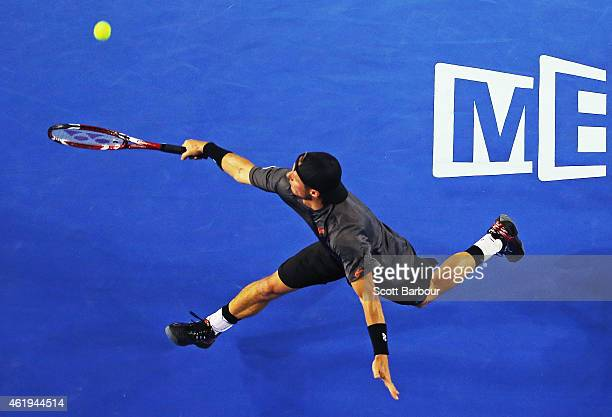 Lleyton Hewitt of Australia plays a backhand in his second round match against Benjamin Becker of Germany during day four of the 2015 Australian Open...