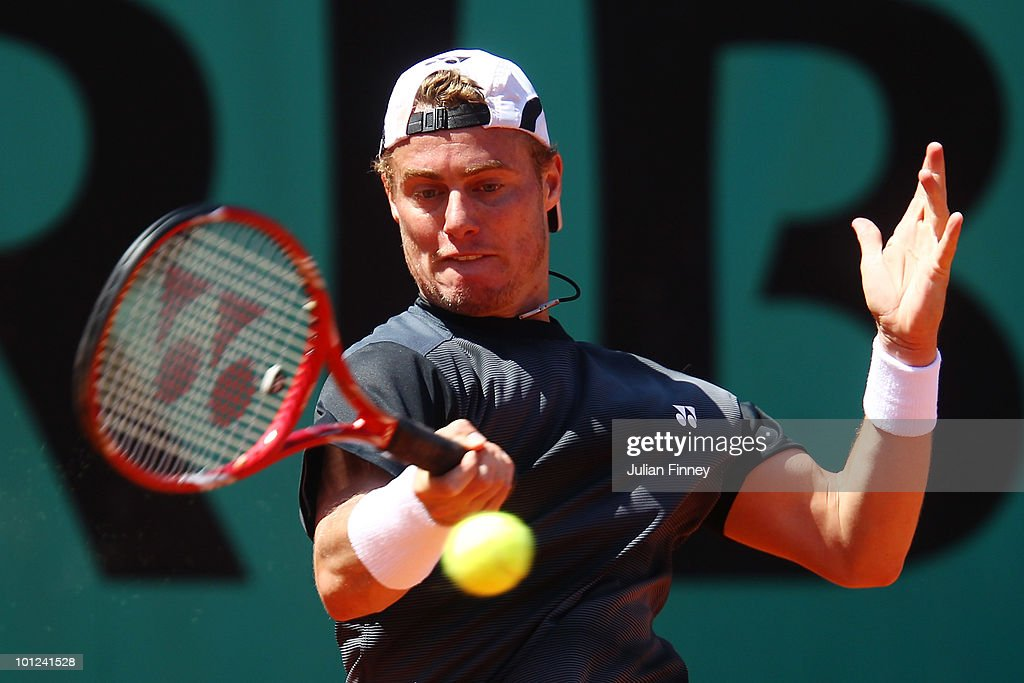 Lleyton Hewitt of Australia plays a forehand during the men's singles second round match between Lleyton Hewitt of Australia and Denis Istomin of Uzbekistan at the French Open on day six of the French Open at Roland Garros on May 28, 2010 in Paris, France.