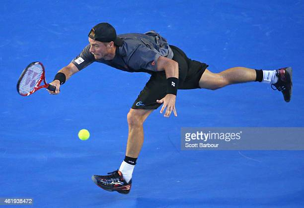 Lleyton Hewitt of Australia plays a forehand in his second round match against Benjamin Becker of Germany during day four of the 2015 Australian Open...