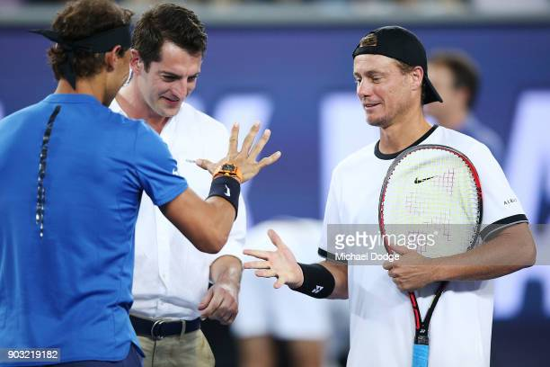 Lleyton Hewitt of Australia reacts after beating Rafael Nadal of Spain hits a backhand at paper rock scissors during the Tie Break Tens ahead of the...