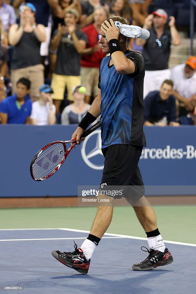 Lleyton Hewitt of Australia reacts after being defeated by Bernard Tomic of Australia during their Men's Singles Second Round match on Day Four of the 2015 US Open at the USTA Billie Jean King National Tennis Center on September 3, 2015 in the Flushing neighborhood of the Queens borough of New York City.