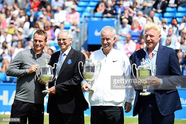 Lleyton Hewitt of Australia Roy Emerson of Australia John McEnroe of the United States and Boris Becker of Germany during the fourtime champions...