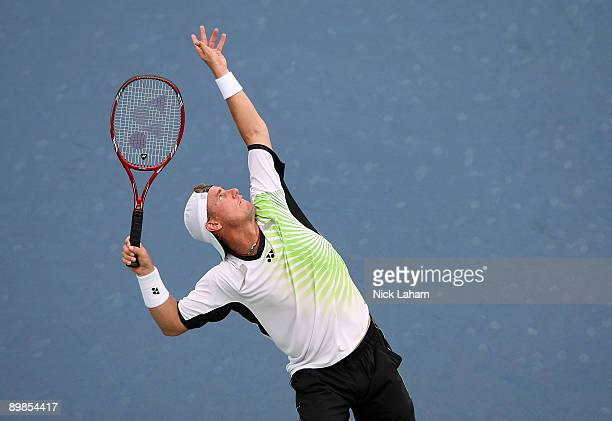 Lleyton Hewitt of Australia serves against Robin Soderling of Sweden during day two of the Western Southern Financial Group Masters on August 17 2009...
