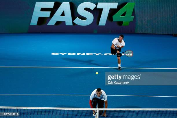 Lleyton Hewitt of Australia serves during a Fast Fours Exhibtion doubles match against Alexander Zverev of Germany and Grigor Dimitrov of Bulgaria...