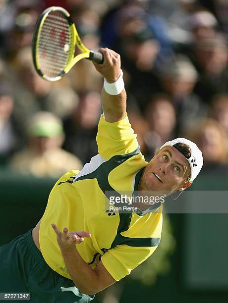 Lleyton Hewitt of Australia serves during his match against Valdimir Voltchkov of Belarus during day one of the Davis Cup World Group Quarterfinal...