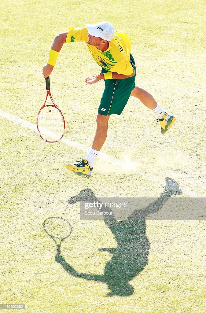 Lleyton Hewitt of Australia serves during the reverse singles match between Lleyton Hewitt of Australia and Aleksandr Nedovyesov of Kazakhstan during day three of the Davis Cup World Group quarterfinal tie between Australia and Kazakhstan at Marrara Sporting Complex on July 19, 2015 in Darwin, Australia.