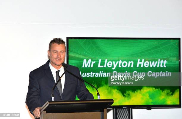 Lleyton Hewitt of Australia speaks at the official dinner at GOMA ahead of the Davis Cup World Group Quarterfinal match between Australia and the USA...
