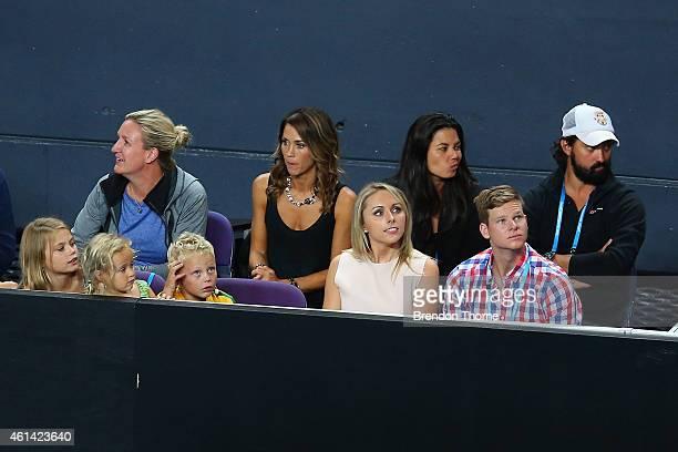 Lleyton Hewitt's children Mia Rebecca Hewitt Ava Sydney Hewitt and Cruz Lleyton Hewitt with Bec Hewitt Australian cricketer Steve Smith and his...