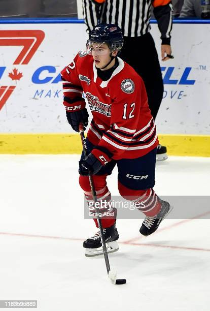 Lleyton Moore of the Oshawa Generals skates against the Mississauga Steelheads during game action on October 25, 2019 at Paramount Fine Foods Centre...