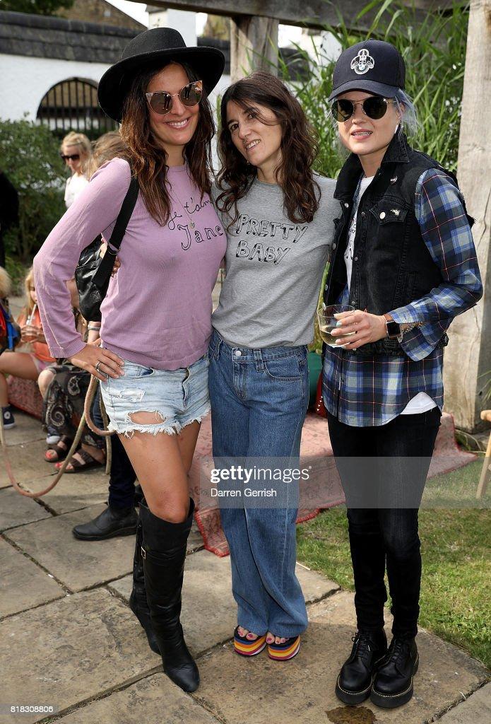 Lliana Bird, Bella Freud and Alison Mosshart attend the J Brand x Bella Freud garden tea party on July 18, 2017 in London, England.