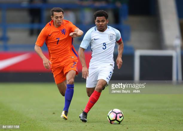 Llias Alhaft of Netherlands and Jay Dasilva of England during the international match between England U20 v Netherlands U20 at the New Bucks Head...