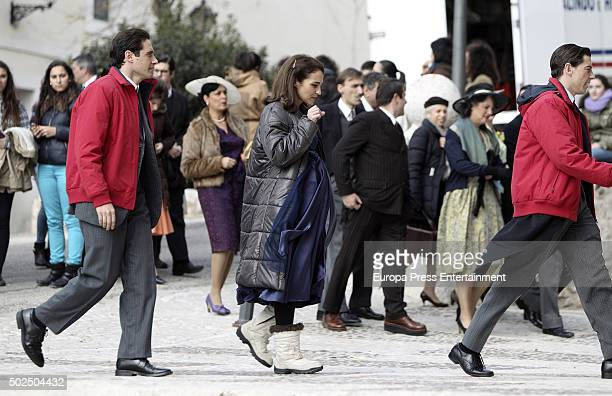 Llorenc Gonzalez Paula Echevarria and Adrian Lastra are seen during the set filming of 'Galerias Velvet' on December 14 2015 in Madrid Spain