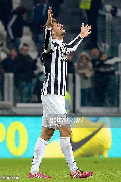Llorente celebrates during the Serie A match between Juventus and Udinese at Juventus Stadium on December 1 2013 in Torino Italy Photo Filippo...