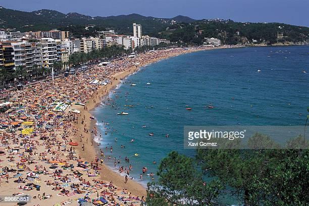 Lloret de Mar beach General view of Lloret de Mar full of bathers