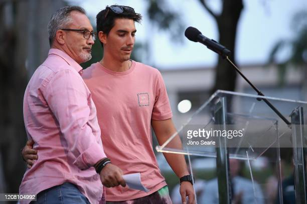 Lloyd and Nathaniel Clarke father and brother to Hannah Clarke speak at a vigil to remember murdered mother Hannah Clarke and her three children at...