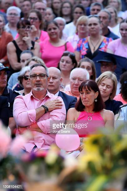 Lloyd and Suzanne Clarke parents to Hannah Clarke attend a vigil to remember murdered mother Hannah Clarke and her three children at Bill Hewitt...