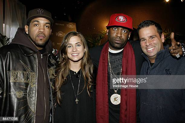 Lloyd Banks Katie Chonacas Tony Yayo and Randall Emmett attend Rock the Vote at the House of Hype Evening Hospitality Lounge on January 19 2008 in...