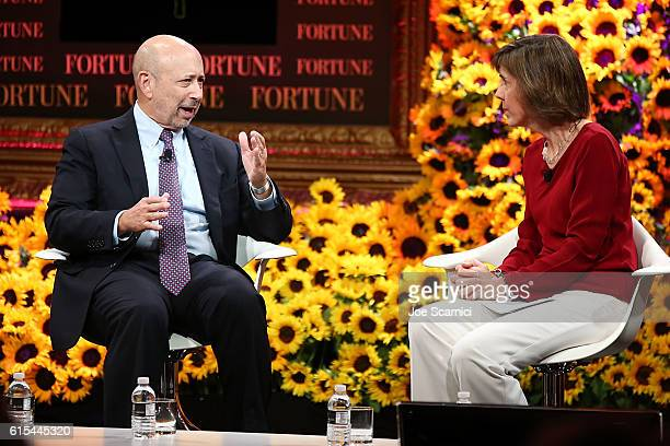 Lloyd Blankfein and Pattie Sellers speak onstage at the Fortune Most Powerful Women Summit 2016 at RitzCarlton Laguna Niguel on October 18 2016 in...