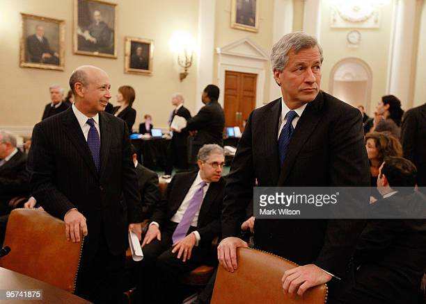 Lloyd Blankfein CEO of Goldman Sachs Group Inc and James Dimon CEO of JPMorgan Chase Company wait for the start of a Financial Crisis Inquiry...