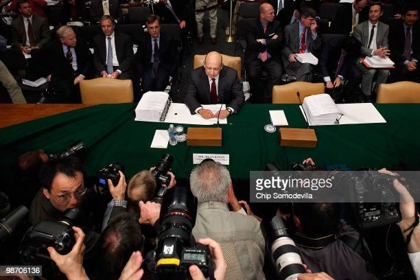 Lloyd Blankfein chairman and CEO of The Goldman Sachs Group prepares to testify before the Senate Homeland Security and Governmental Affairs...