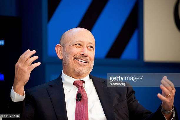 Lloyd Blankfein chairman and chief executive officer of Goldman Sachs Group Inc speaks during the New York Times DealBook conference in New York US...