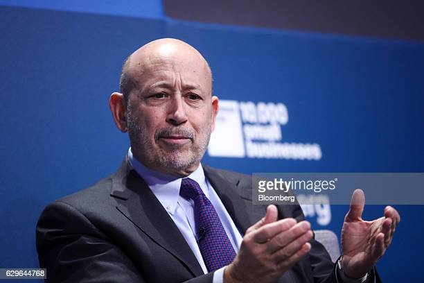Lloyd Blankfein chairman and chief executive officer of Goldman Sachs Group Inc gestures during a panel session at the 10000 Small Businesses...