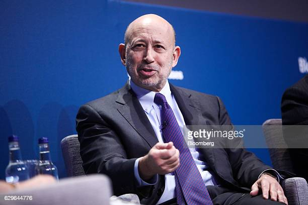 Lloyd Blankfein chairman and chief executive officer of Goldman Sachs Group Inc gestures while speaking during a panel session at the 10000 Small...