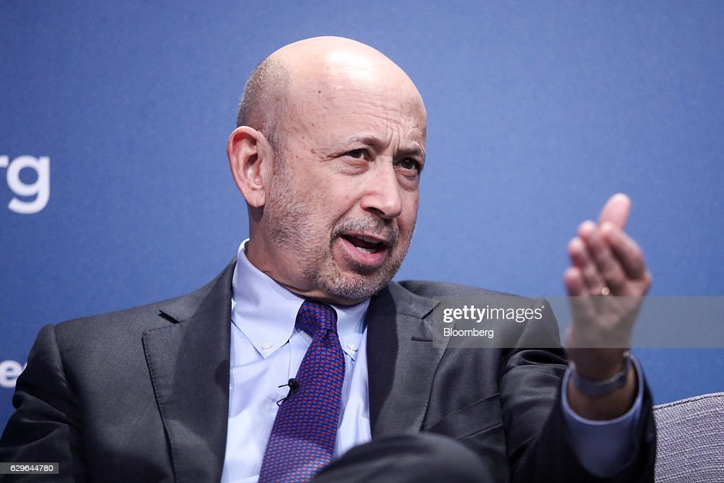 Lloyd Blankfein, chairman and chief executive officer of Goldman Sachs Group Inc., gestures while speaking during a panel session at the 10,000 Small Businesses (1OKSB) Partnership Event at their offices in London, U.K., on Wednesday, Dec. 14, 2016. The 'pendulum happily has swung by' the era when people criticized Goldman Sachs executives taking positions in public service, Blankfein said at the event. Photographer: Chris Ratcliffe/Bloomberg via Getty Images