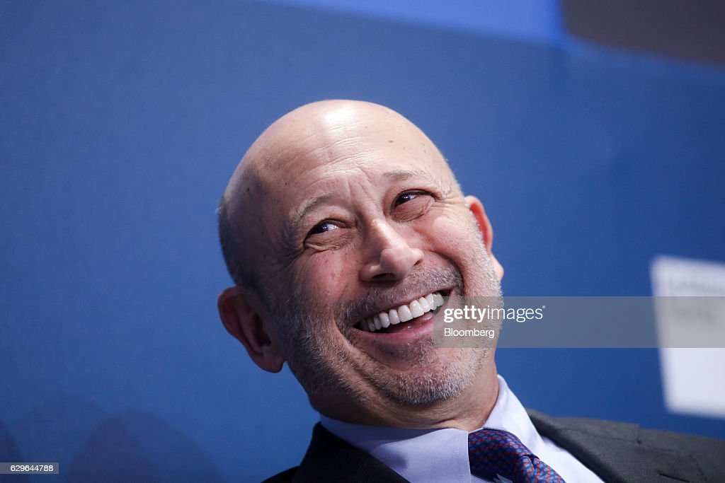 Lloyd Blankfein, chairman and chief executive officer of Goldman Sachs Group Inc., reacts during a panel session at the 10,000 Small Businesses (1OKSB) Partnership Event at their offices in London, U.K., on Wednesday, Dec. 14, 2016. The 'pendulum happily has swung by' the era when people criticized Goldman Sachs executives taking positions in public service, Blankfein said at the event. Photographer: Chris Ratcliffe/Bloomberg via Getty Images