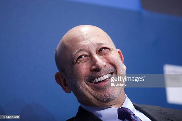 Lloyd Blankfein chairman and chief executive officer of Goldman Sachs Group Inc reacts during a panel session at the 10000 Small Businesses...