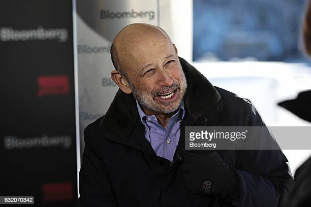 Lloyd Blankfein chairman and chief executive officer of Goldman Sachs Group Inc reacts during a Bloomberg Television interview at the World Economic...