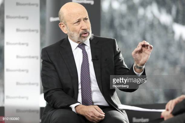 Lloyd Blankfein, chairman and chief executive officer of Goldman Sachs Group Inc., gestures as he speaks during a Bloomberg Television interview on...