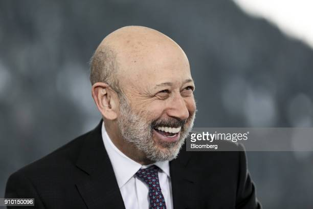 Lloyd Blankfein, chairman and chief executive officer of Goldman Sachs Group Inc., reacts during a Bloomberg Television interview on day three of the...