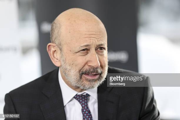 Lloyd Blankfein, chairman and chief executive officer of Goldman Sachs Group Inc., speaks during a Bloomberg Television interview on day three of the...