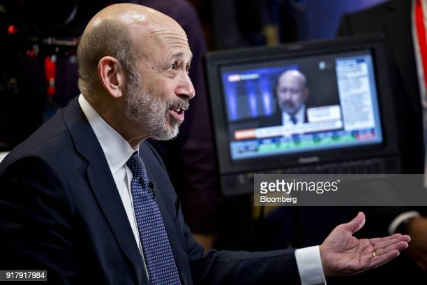 Lloyd Blankfein chairman and chief executive officer of Goldman Sachs Group Inc speaks during a Bloomberg Television interview at the Goldman Sachs...