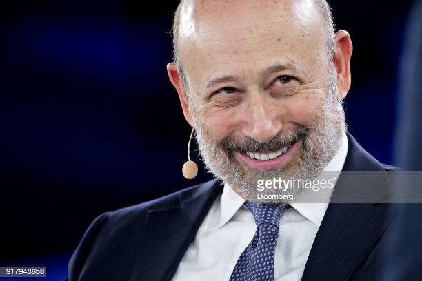 Lloyd Blankfein chairman and chief executive officer of Goldman Sachs Group Inc smiles during a discussion at the Goldman Sachs 10000 Small...