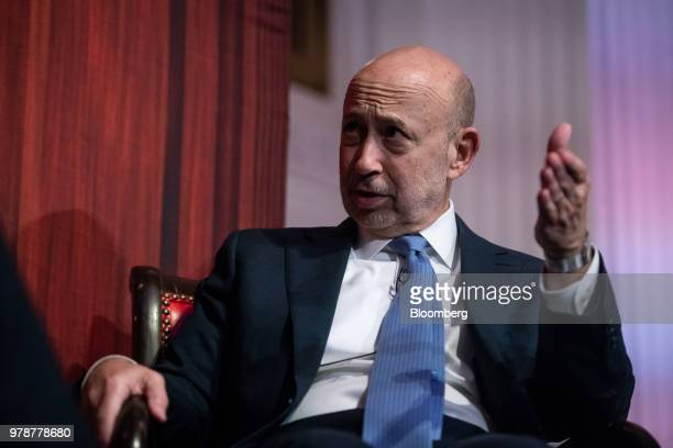 Lloyd Blankfein chairman and chief executive officer of Goldman Sachs Group Inc speaks during an Economic Club of New York event in New York US on...