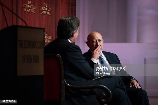 Lloyd Blankfein chairman and chief executive officer of Goldman Sachs Group Inc listens during an Economic Club of New York event in New York US on...