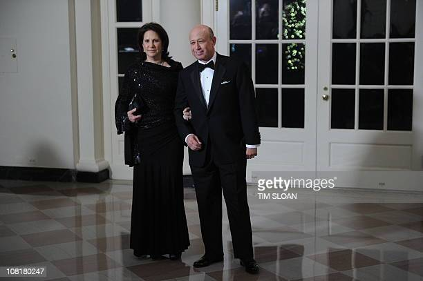 Lloyd Blankfein Chief Executive Officer and Chairman of Goldman Sachs and wife Laura arrive for the State Dinner in honor of Chinese President Hu on...
