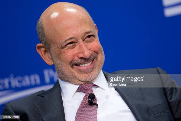 Lloyd Blankfein chief executive officer of Goldman Sachs Group Inc smiles during a panel discussion at the Center for American Progress in Washington...